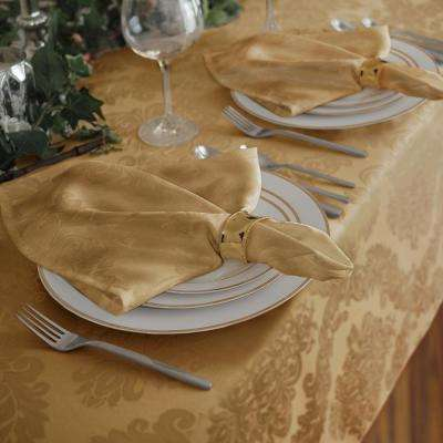 17 in. W x 17 in. L Elrene Barcelona Damask Gold Fabric Napkins (Set of 4)