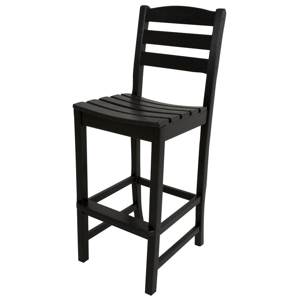 POLYWOOD La Casa Cafe Black Plastic Outdoor Patio Bar Side Chair