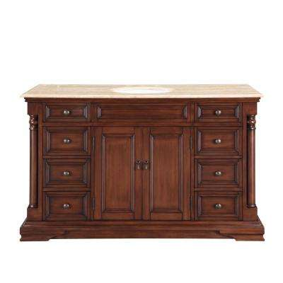 58 in. W x 22 in. D Vanity in English Chestnut with Stone Vanity Top in Travertine with White Basin
