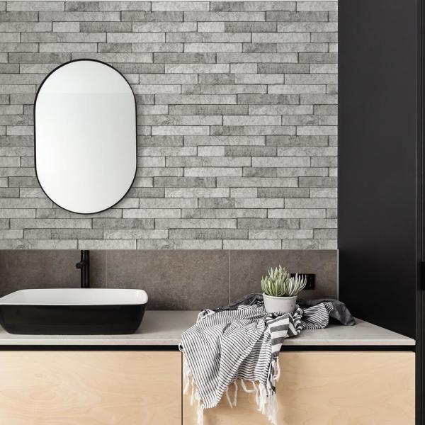 Brewster Grey Stone Wall Applique Peel And Stick Backsplash-BHF3049 - The  Home Depot