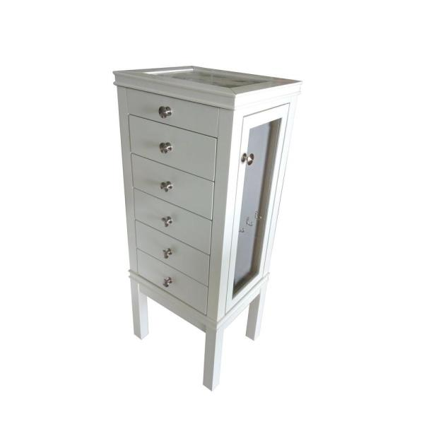 undefined 39 in. x 16 in. 5-Drawer Jewelry Tower in White