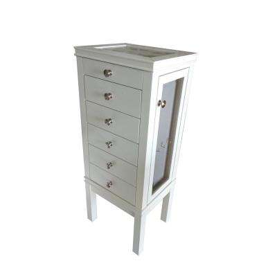 39 in. x 16 in. 5-Drawer Jewelry Tower in White