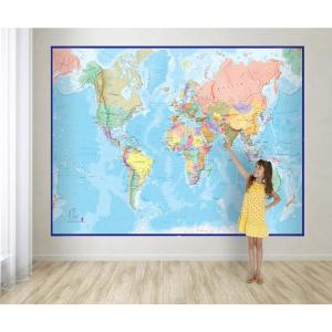 Giant World Wall Map Mural - Blue on modern wall world map, giant laminated world maps, wall size world map, wall sticker world map, giant detailed world map, giant wall numbers, giant world map mural, giant wall compass, ikea wall world map,