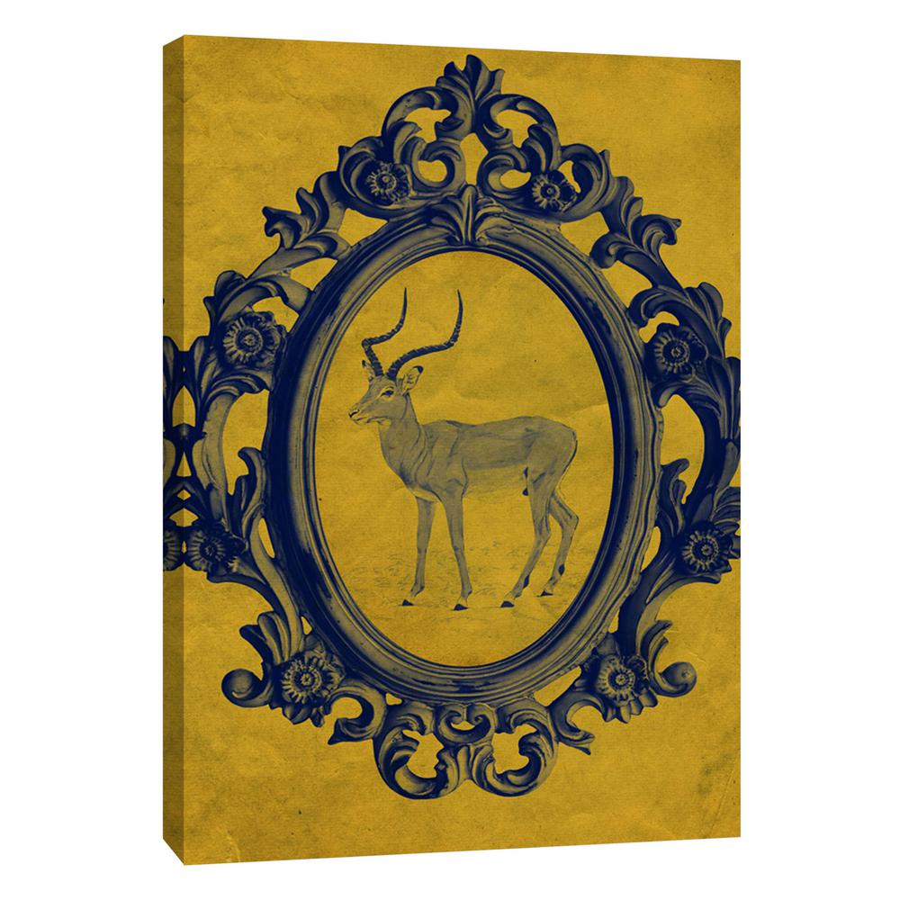 PTM Images 12.in x 10.in \'\'Framed Gazelle in Yellow\'\' Printed Canvas ...