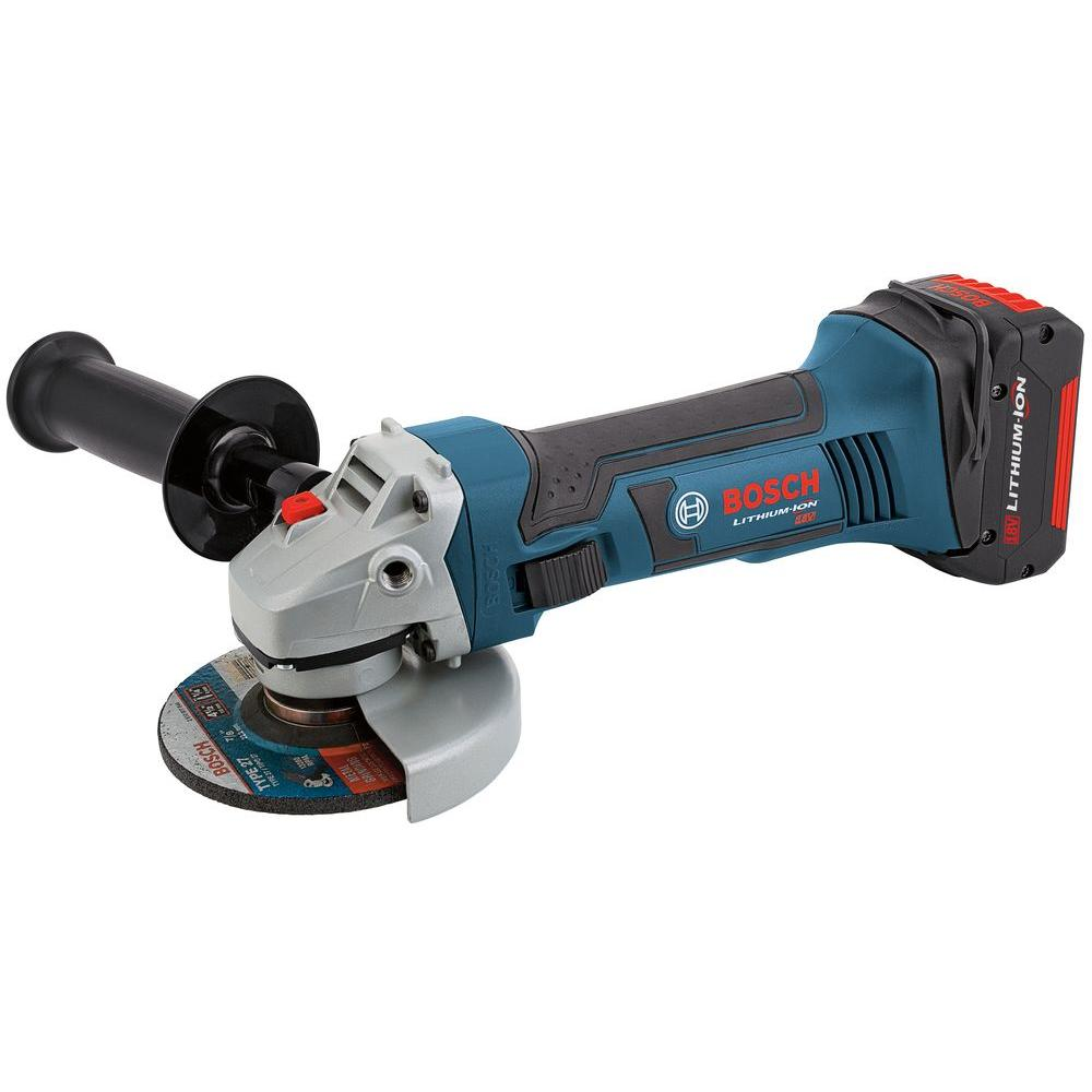 Bosch 18-Volt Lithium-Ion 4-1/2 Angle Grinder with 2 Fat Pack Batteries and Charger