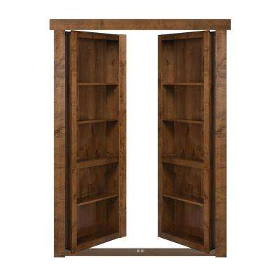 72 in. x 80 in. Flush Mount Assembled Alder Medium Stained Out-Swing Solid Core Interior French Bookcase Door