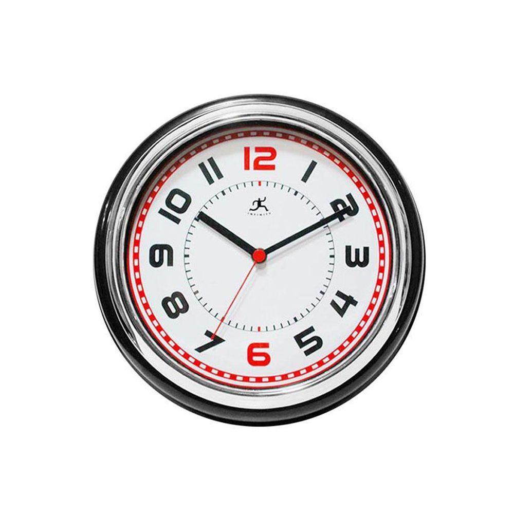 Home Decorators Collection 11.75 in. W Boss Black Chrome And White Clock