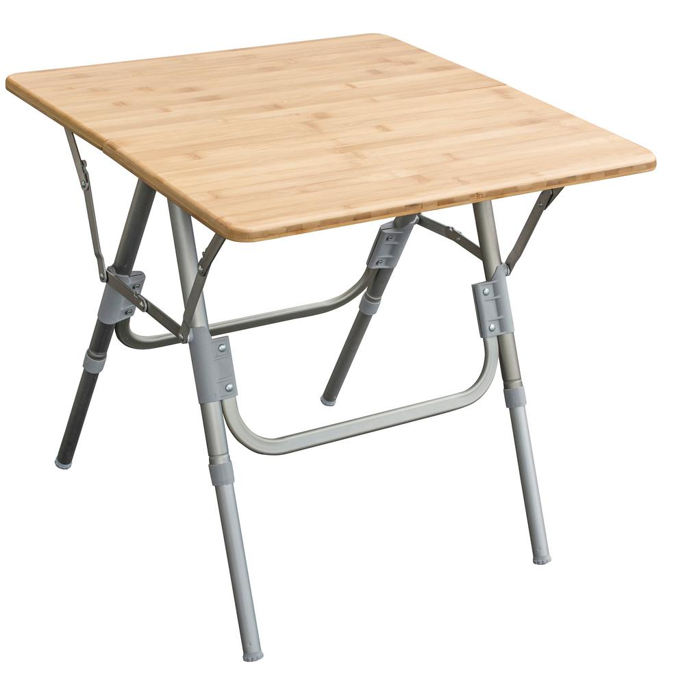 Adjule Height Folding Side Bamboo Table With Carry