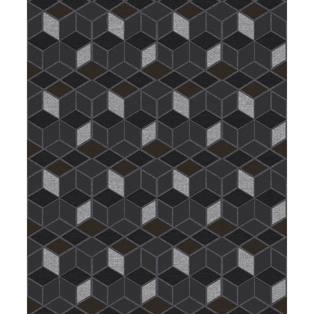 Advantage 57.8 sq. ft. Joanne Charcoal Blox Wallpaper 2809-IH18107