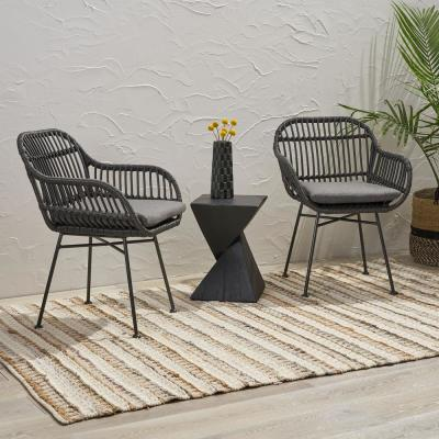 Orlando Grey Removable Cushions Wicker Outdoor Lounge Chairs with Dark Grey Cushions (2-Pack)