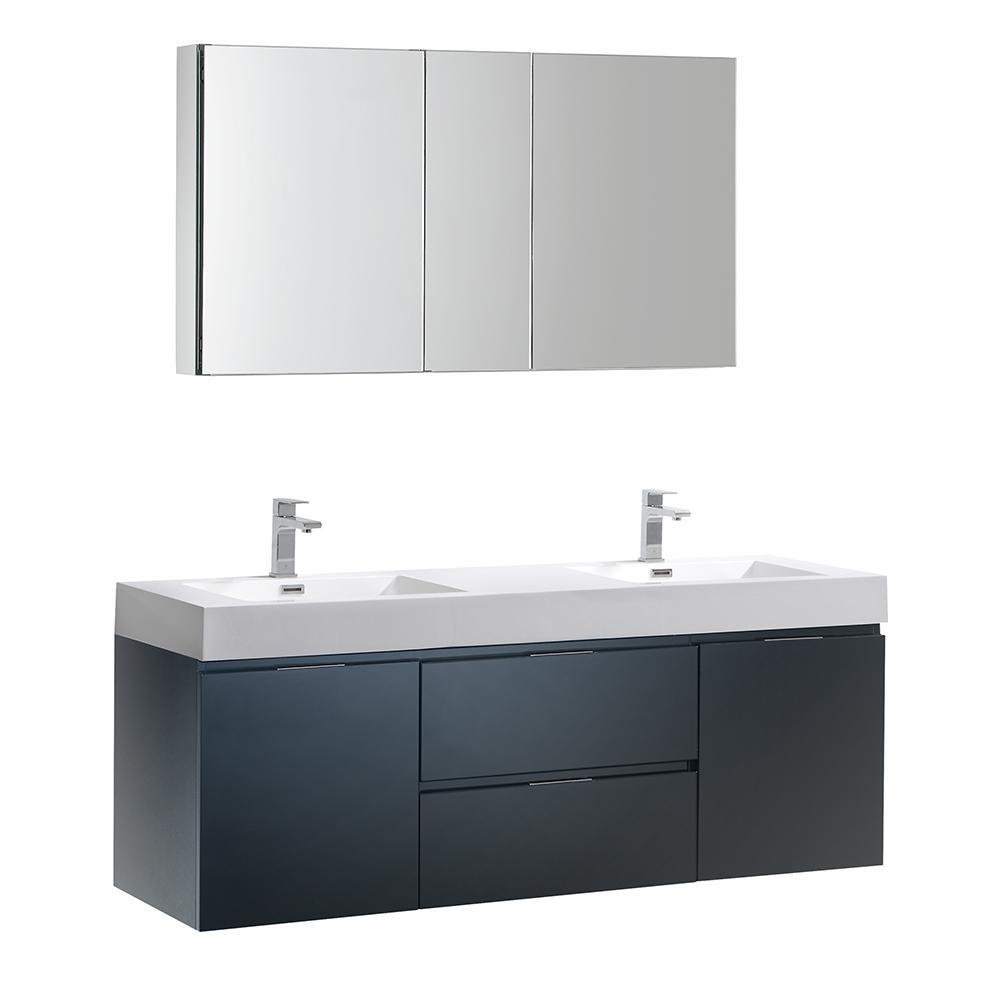 Wall Hung Vanity Dark Slate Gray Acrylic Double Vanity