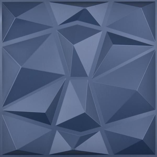 Diamond Decorative 3D PVC Wall Panel Navy Blue 19.7 x 19.7 in. ( 32 sq. ft. /case)