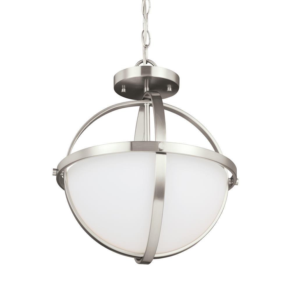 Alturas 2-Light Brushed Nickel Semi-Flushmount Convertible Pendant with LED Bulbs
