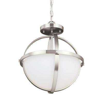 Alturas 2-Light Brushed Nickel Pendant with LED Bulbs