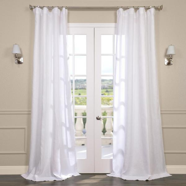 Purity White Linen Sheer Curtain - 50 in. W x 108 in. L