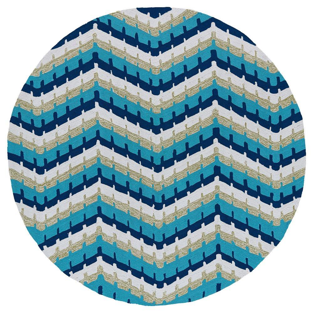 Kaleen Home and Porch Chevron Blue 7 ft. 9 in. Indoor/Outdoor Round Area Rug