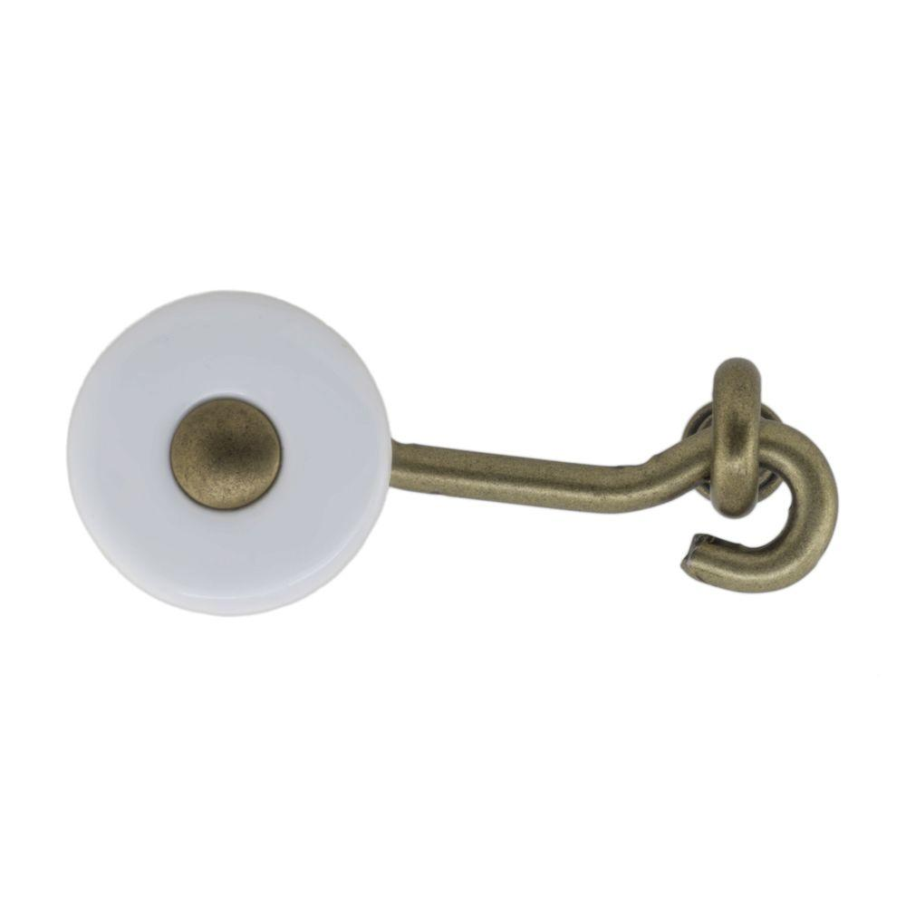 Perennial 2-1/2 in. White Ceramic and Antique Brass Cabinet Latch