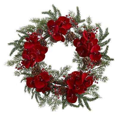22 in. Orchid, Berry and Pine Holiday Artificial Wreath