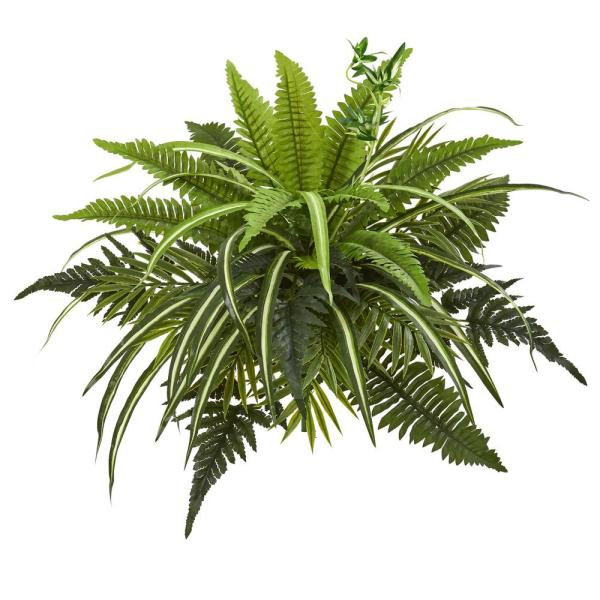 Indoor 22 Mixed Greens and Fern Artificial Bush Plant (Set of 3)