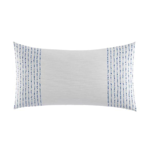 Nautica Langford Blue 1 Piece 14 In X 26 In French Knot Cotton Throw Pillow Ushsfy1153667 The Home Depot
