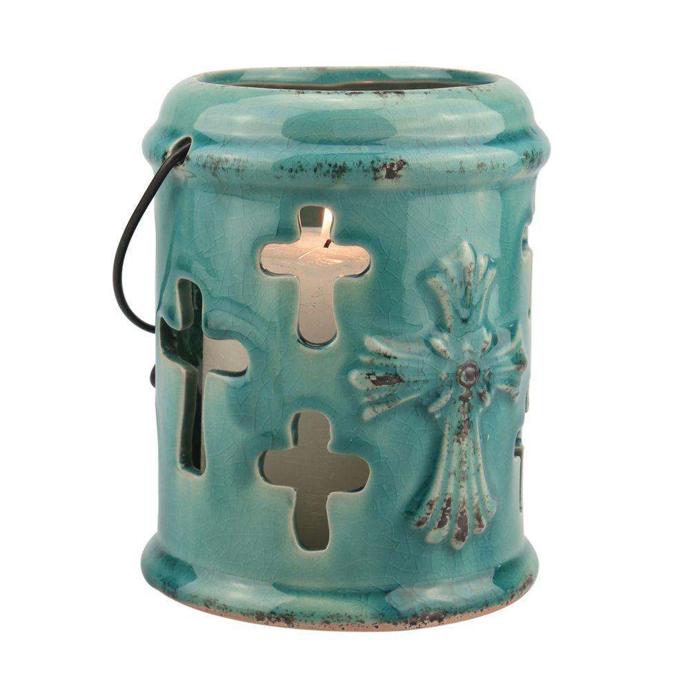 6 in. H Turquoise Ceramic Cross Hanging Lantern