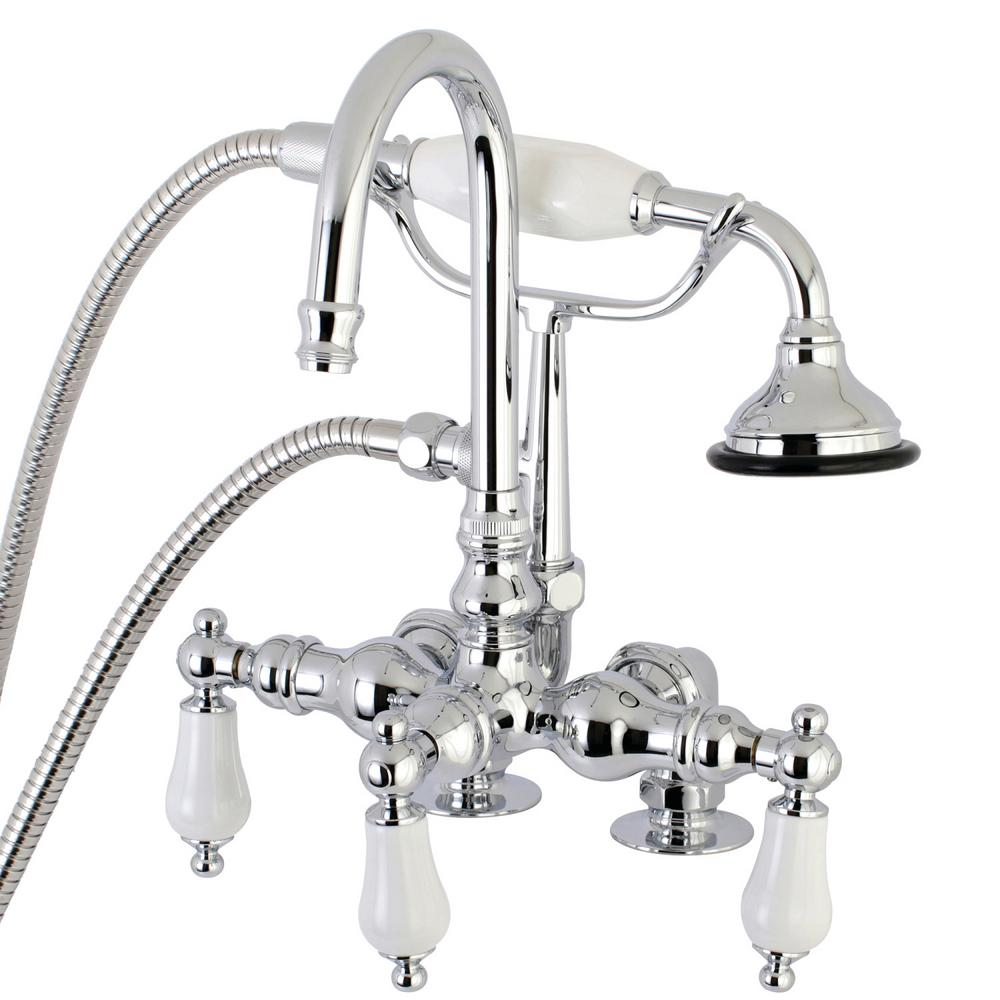 Porcelain Lever 3-Handle Claw Foot Tub Faucet with Handshower in Polished