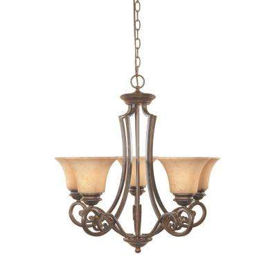 Vienna 5-Light Forged Sienna Hanging Chandelier