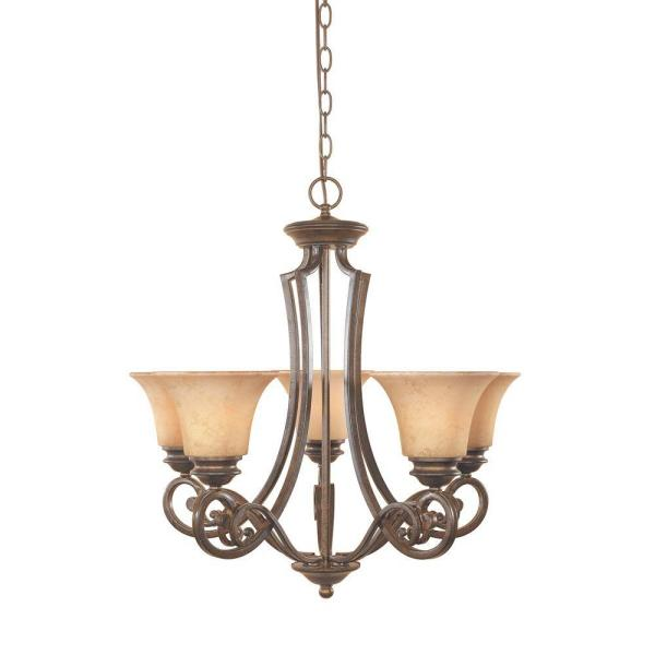 Mendocino 5-Light Forged Sienna Hanging Chandelier