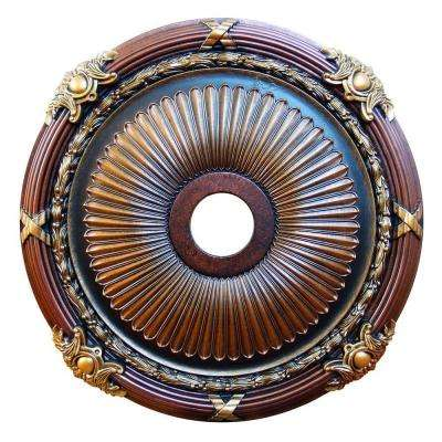 Brass 26 in. Strength and Beauty, Bronze, Gold, Copper, Polyurethane Hand Painted Ceiling Medallion