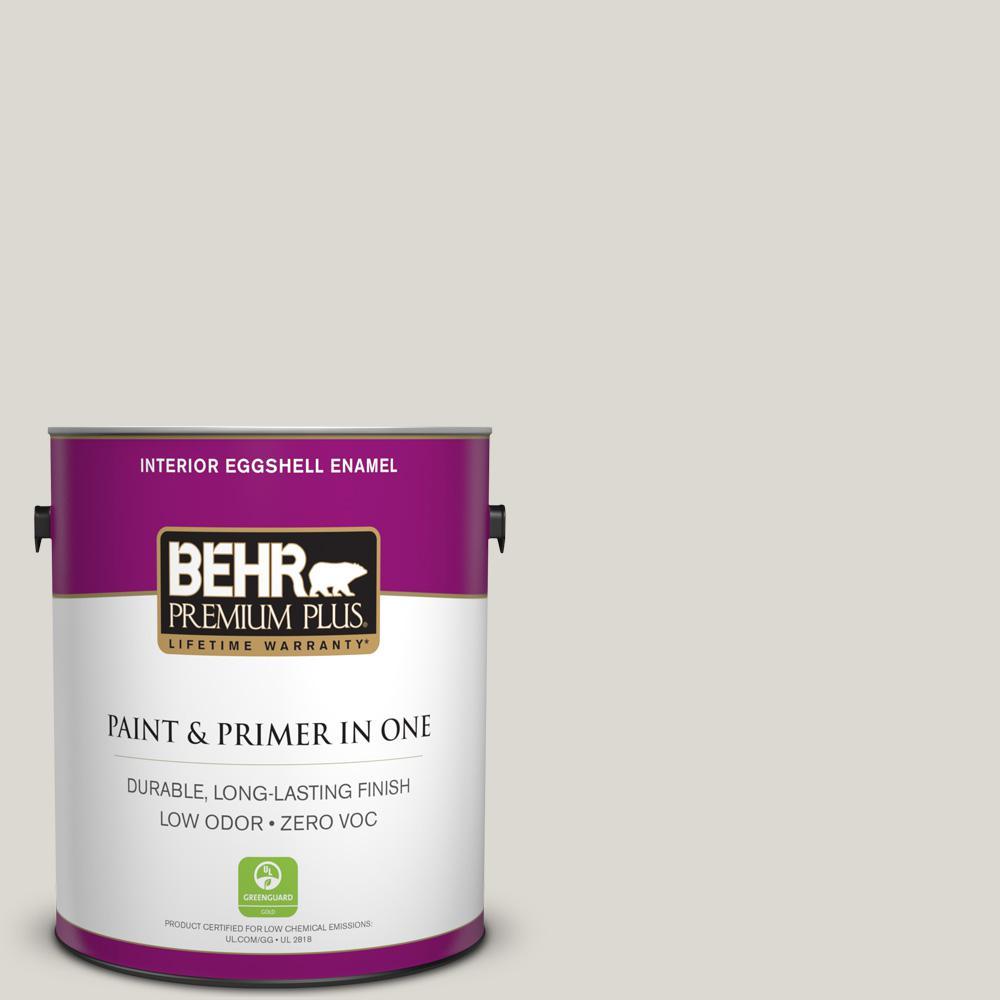 BEHR Premium Plus 1 gal. #790C-2 Silver Drop Eggshell Enamel Zero VOC Interior Paint and Primer in One