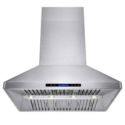 42 in. Kitchen Island Mount Range Hood in Stainless Steel with Remote and Touch Control Panel