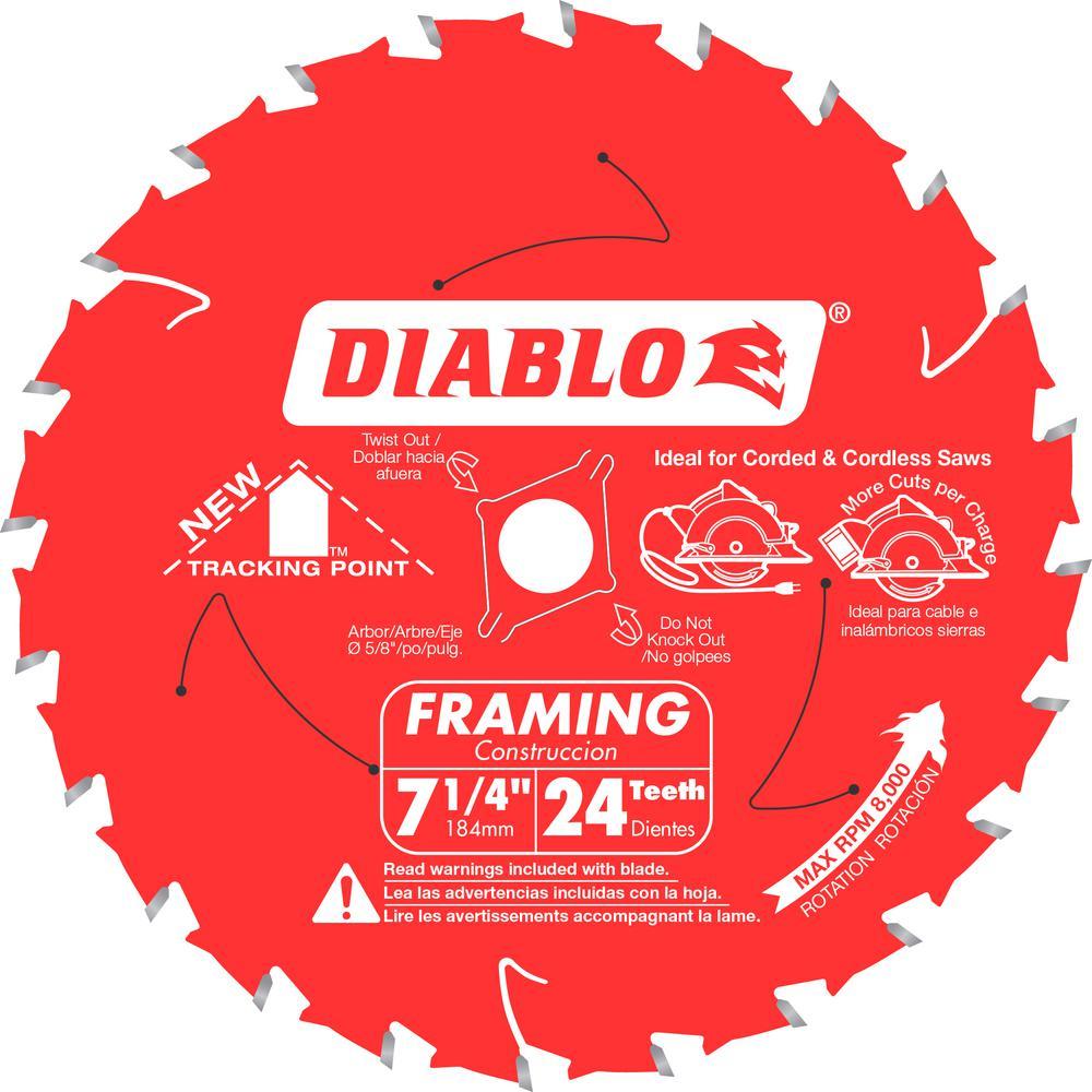 Diablo 7 1/4 In. X 24 Teeth Tracking Point Framing Saw