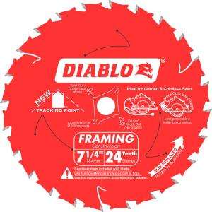 Diablo 7 1 4 In X 24 Teeth Tracking Point Framing Saw