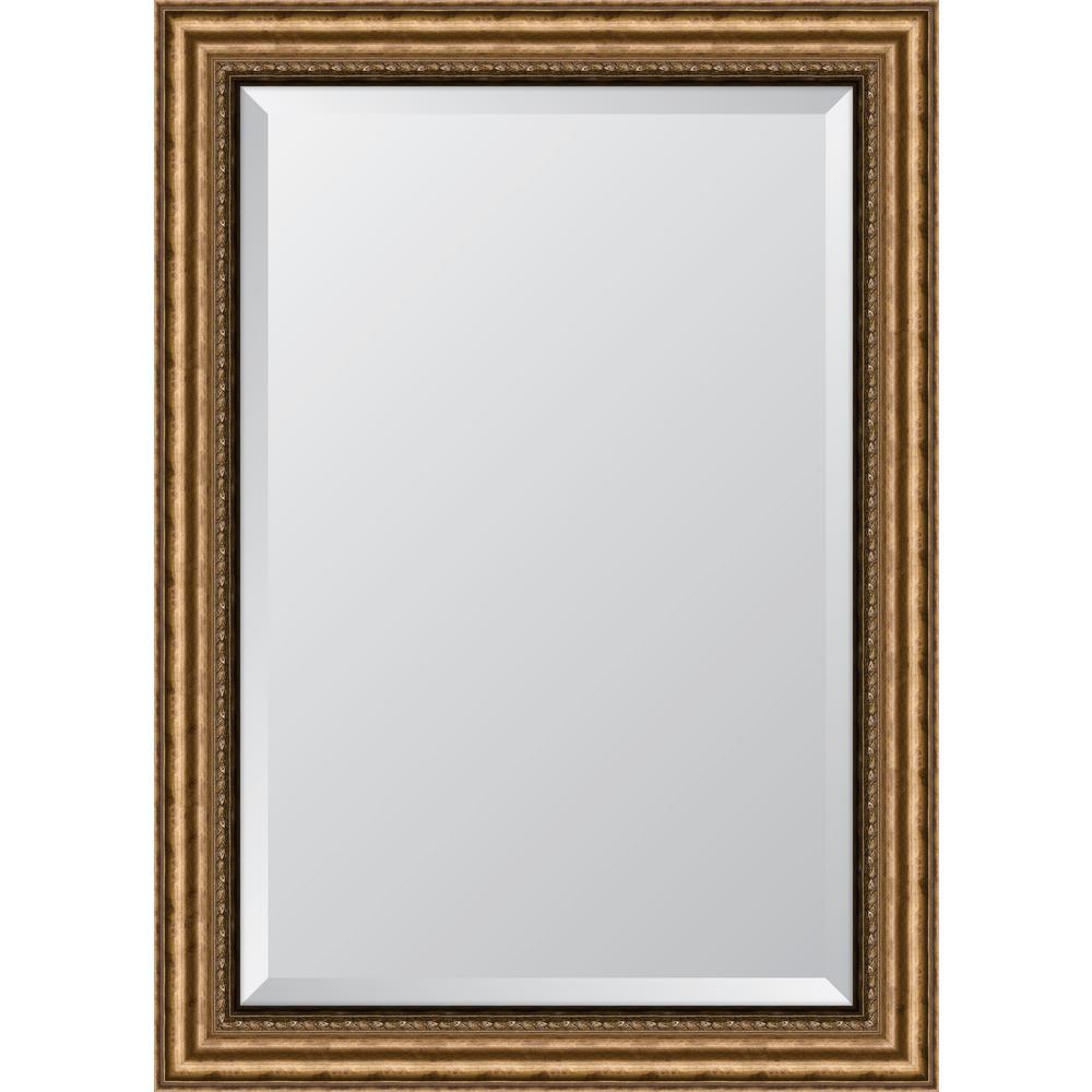 "32 in. x 44 in. Framed 3-3/8"" Antique Gold Resin Frame Mirror"