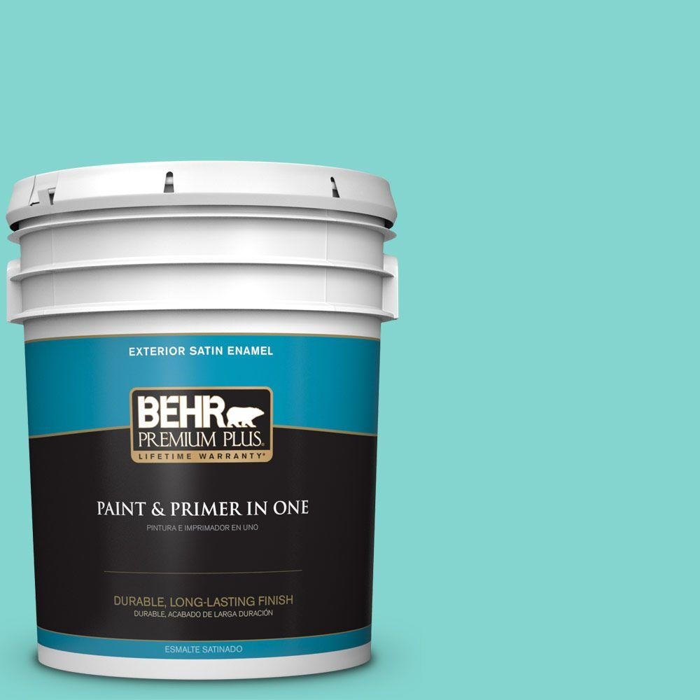 BEHR Premium Plus Home Decorators Collection 5-gal. #HDC-MD-09 Island Oasis Satin Enamel Exterior Paint