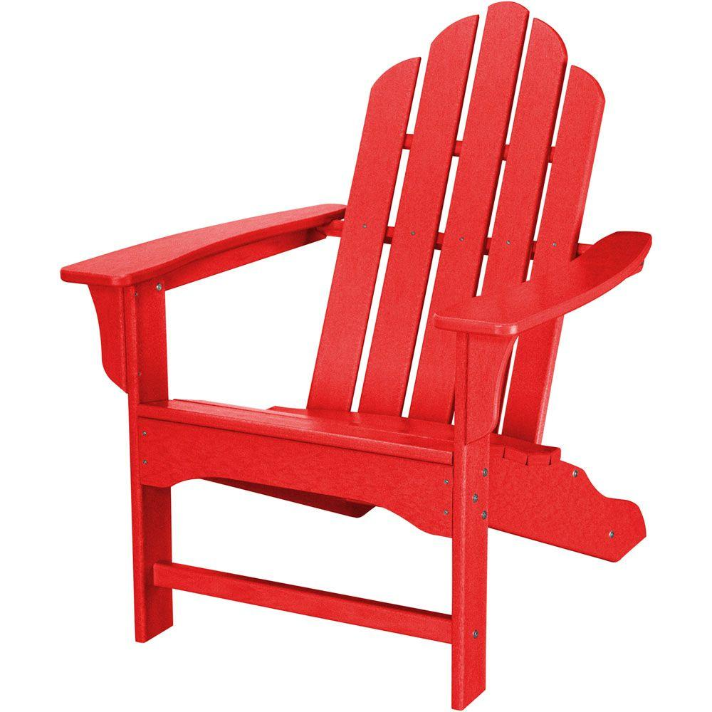 All Weather Patio Adirondack Chair In Sunset Red