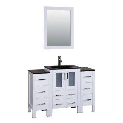 48 in. W Single Bath Vanity in White with Tempered Glass Vanity Top with Black Basin and Mirror