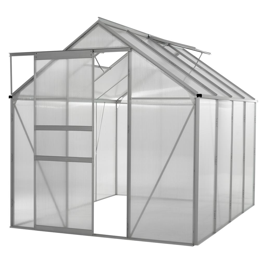 Ogrow Walk-in 6 ft. x 8 ft. Lawn and Garden Greenhouse with Heavy ...