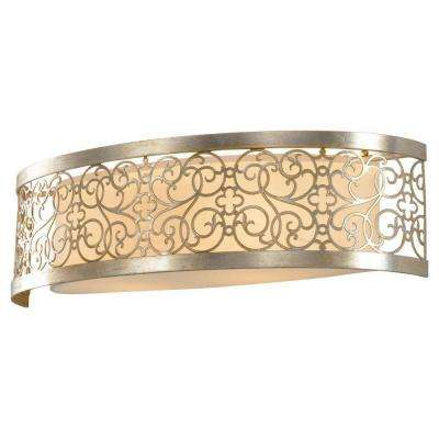Arabesque 2-Light Silver Leaf Patina Vanity Light