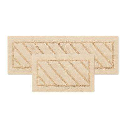 Ruby Collection 17 in. x 24 in. and 20 in. x 31 in. Heavyweight Hand Tufted Cotton Bath Rug Mat Set in Beige