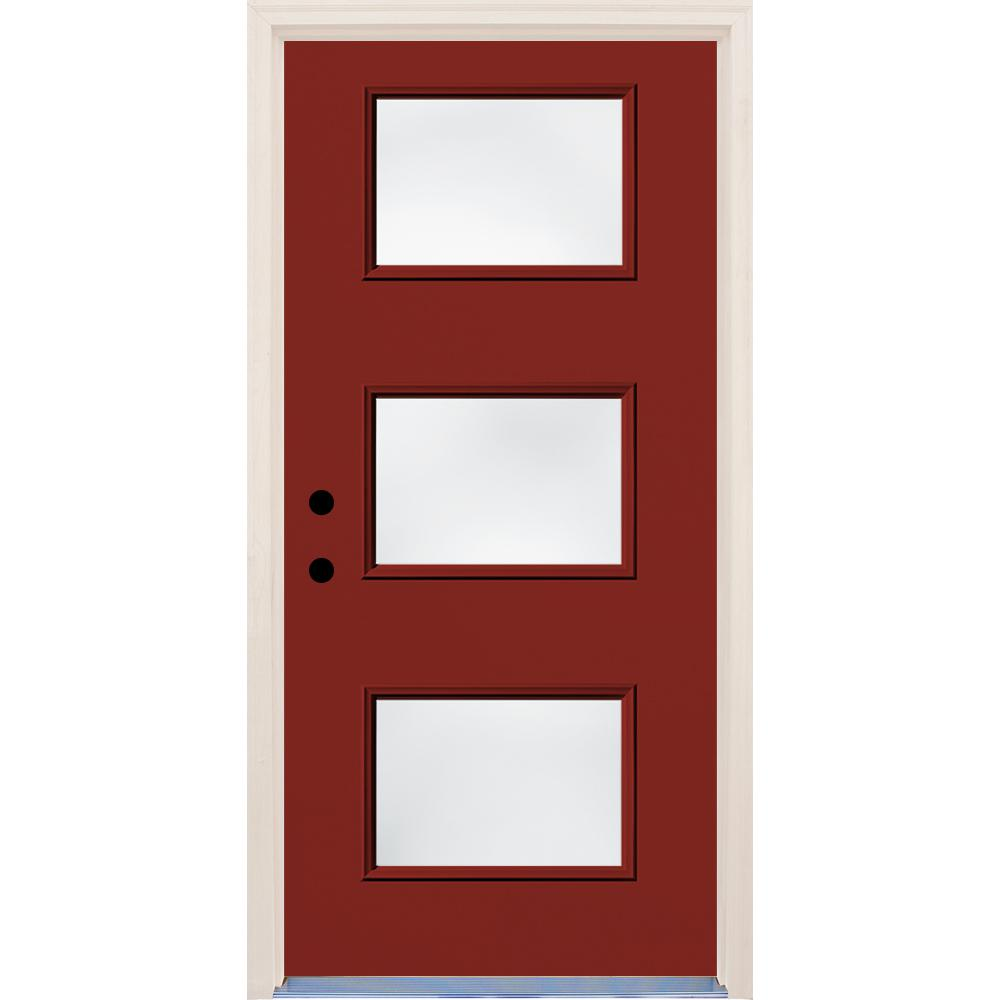 36 in. x 80 in. Cordovan Right-Hand 3 Lite Clear Glass