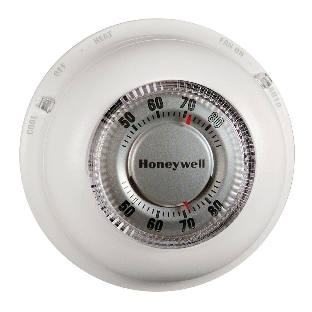 Non Programmable Thermostats The Home Depot Honeywell Thermostat Rth7400d Wiring Diagram Schematics Round Heat Cool