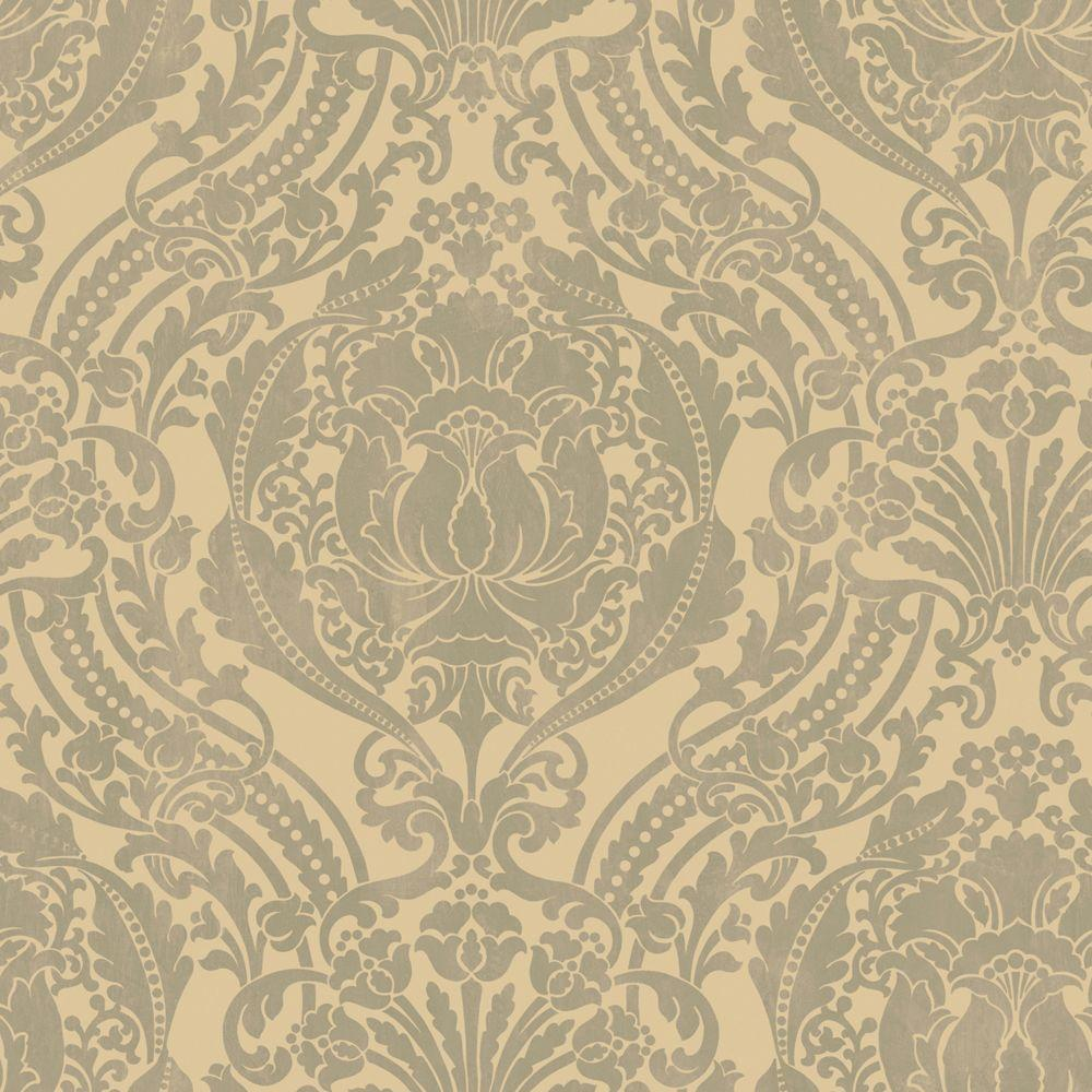 The Wallpaper Company 56 sq. ft. Grey and Beige Grandiose Damask Wallpaper