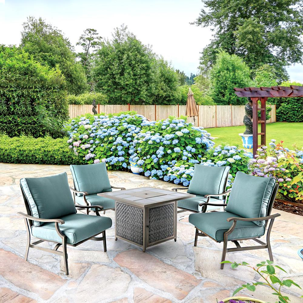 Crius 5-Piece Metal Patio Fire Pit Seating Set with Lake-Blue Cushions