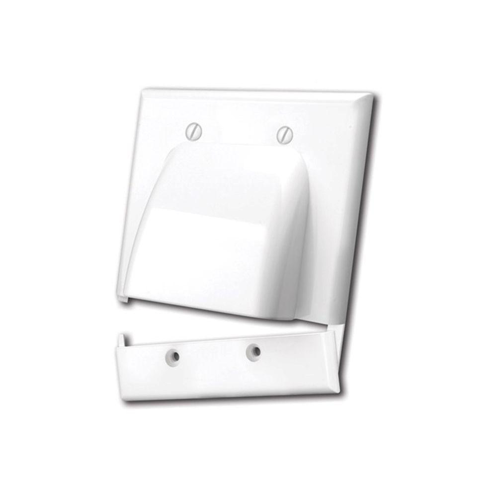 Vanco 2 Gang Hinged Bulk Cable Wall Plate - White