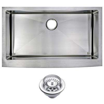 Farmhouse Apron Front Stainless Steel 36 in. Single Bowl Kitchen Sink with Strainer in Satin