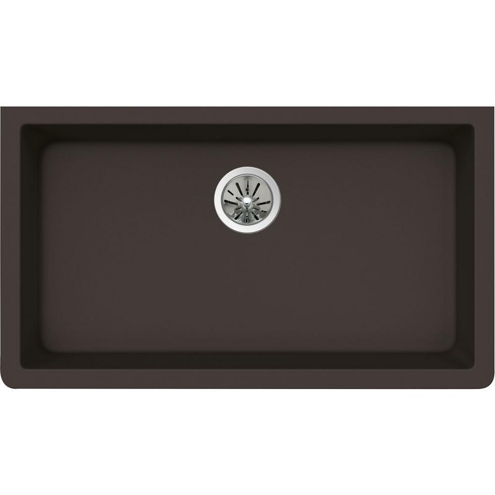 Premium Quartz Undermount Composite 33 in. Single Bowl Kitchen Sink in Chestnut