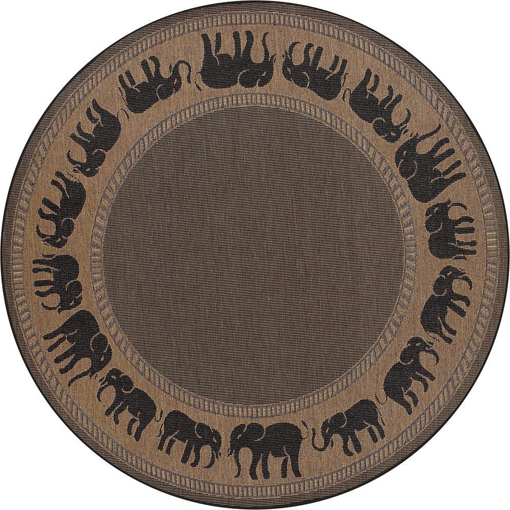 Recife Elephant Cocoa-Black 9 ft. x 9 ft. Round Indoor/Outdoor Area Rug