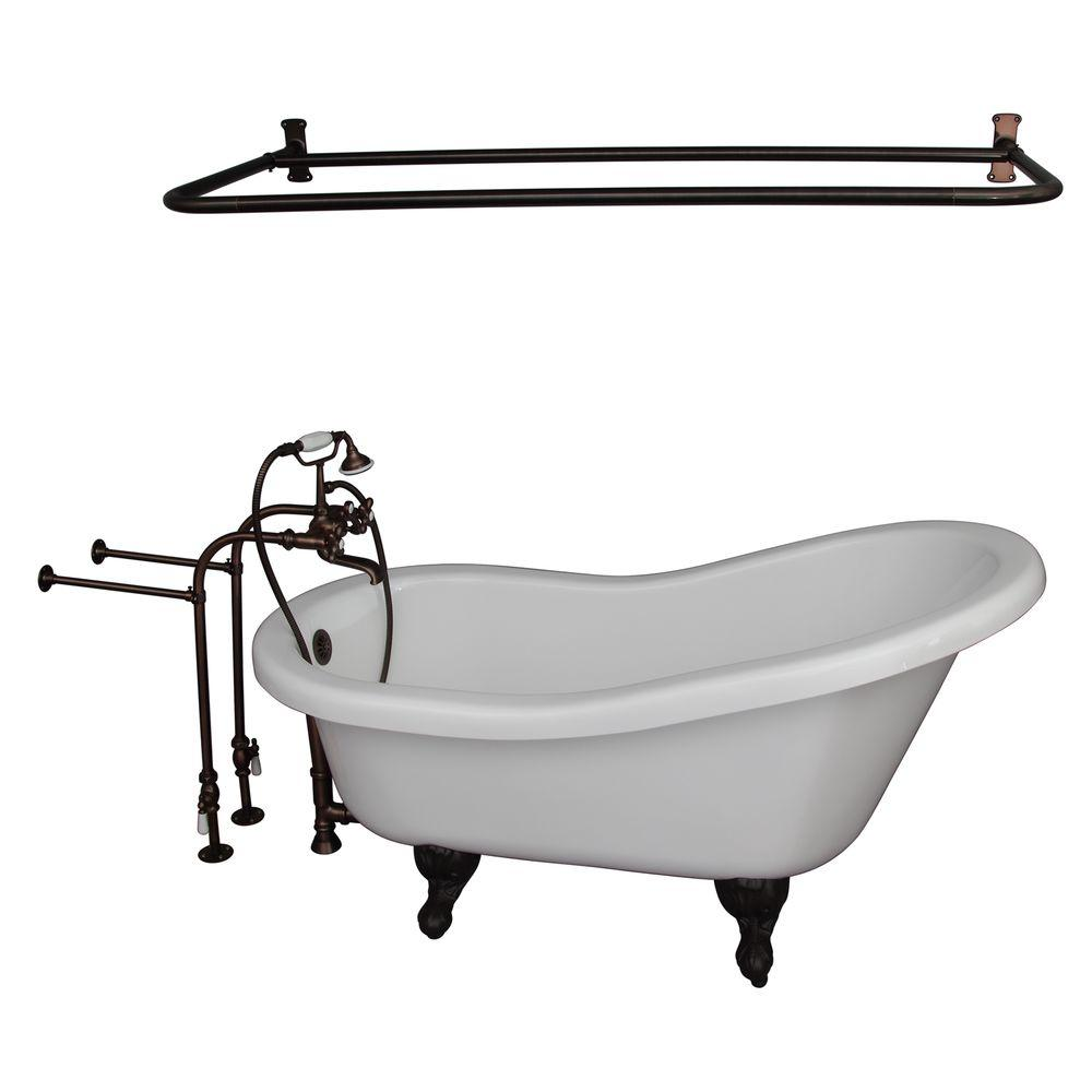 Barclay Products 5 ft. Acrylic Ball and Claw Feet Slipper Tub in White Oil Rubbed Bronze Accessories
