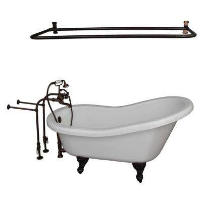 5 ft. Acrylic Ball and Claw Feet Slipper Tub in White Oil Rubbed Bronze Accessories